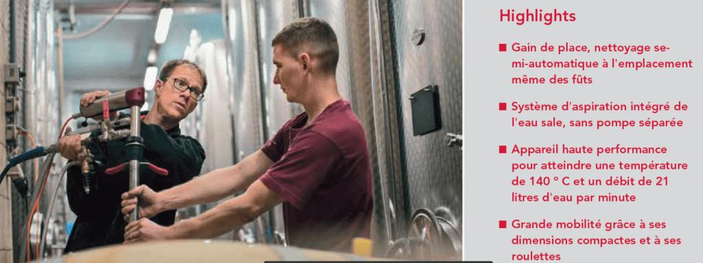 Système professionnel de nettoyage de fûts, sans compromis même pour un nombre limité de fûts